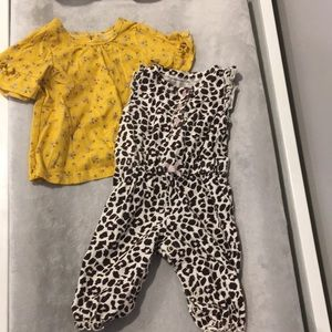 Carter's leopard romper and floral shirt